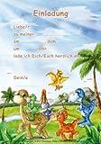 12 Einladungen Dinosaurier Party