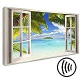 murando - Akustikbild Fensterblick 120x80 cm - Wandbilder - Schallschutz - Leinwand - Akustikdämmung - 1 Teilig - Wandbilder XXL - Schallschlucker - Wandbild - leise - c-C-0090-ah-a
