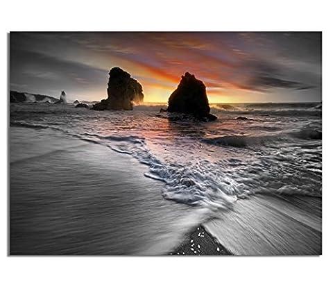 Echtes Glasbild AG5705000187 DEKO 70 x 50 cm OCEAN WAVES SUN II / 4mm starkes behandeltes Sicherheitsglas mit Abstandshalter für TOLLE TIEFENWIRKUNG / WANDBILD inkl. montiertem Aufhänger