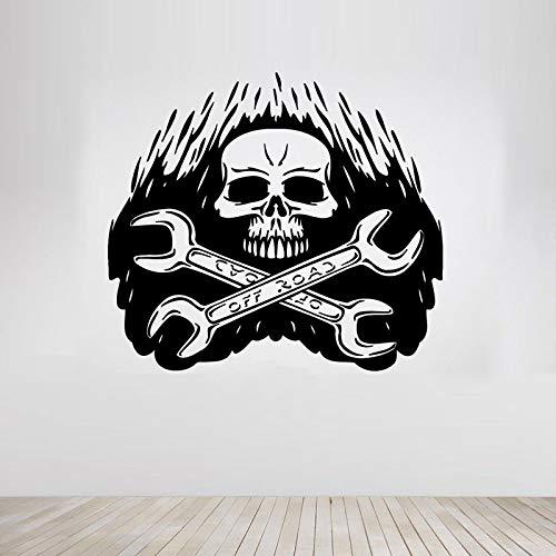 jiuyaomai Schraubenschlüssel Schädel Grim Tools Wandaufkleber Für Halloween Wohnzimmer Tapete Dekoration Für Wohnkultur Vinyl Aufkleber Wandbilder braun 46X42 cm