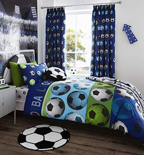 Catherine Lansfield Kids - Juego de funda nórdica (200 x 200 cm), diseño de balones de fútbol, color azul