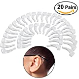 Foxnovo Silicone Ear Grip Hook Anti-skid Ear Pads for Eyeglasses-20 Pairs (Transparent)