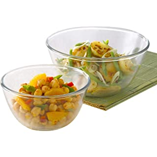 Borosil Glass Mixing Bowl   Set of 2  2.5L + 3.5L  Oven and Microwave Safe
