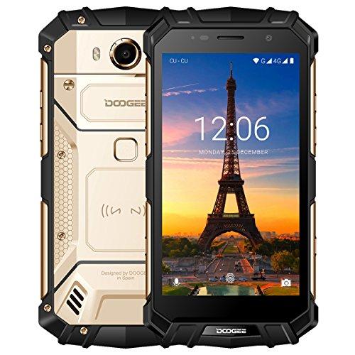 Outdoor Smartphone, DOOGEE S60 4G Dual SIM Handy Ohne Vertrag Android 7.0, 5,2 Zoll FHD Helio P25 Octa Core 6GB RAM 64GB ROM, 21 MP Hauptkamera, 5580mAh Akku 12V2A Quick Charge Fingerabdruck NFC -Gold