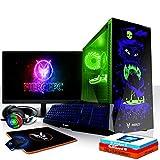 Fierce Warlord RGB Gaming PC Bundeln: 6 x 4.6GHz 6-Core Intel Core i5 8600K, Flüssigkühler, 1TB SSHD, 16GB 2666MHz, GTX 1050 Ti 4GB, Win 10, Tastatur (QWERTZ), Maus, 24-Zoll-Monitor, Headset 1037594