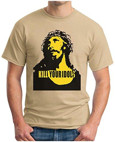 OM3 - KILL YOUR IDOLS - T-Shirt 90s Jesus Hardcore Punk Grunge Music Band New York NYC USA Swag, L, Khaki (Emo T-shirt, Shirt)