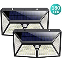 Solar Lights Outdoor, HETTP【Super Bright 180 LED】Solar Security Lights Motion Sensor【270° Four-Sided Lighting 】2500 mAh High Capacity Solar Powered Lights Wall Lights with 3 Intelligent Mode (2 Pack)