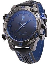 Shark SH265 - Reloj Hombre Cuarzo de Cuero Negro, Esfera Negra, Alarma