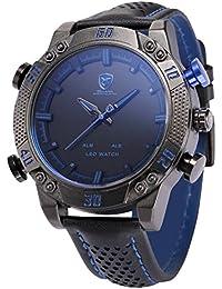 Shark SH265–Reloj Hombre–Cuarzo–LED/Fecha/Día/Alarma–Digital Analógico–Correa Cuero Negro Azul