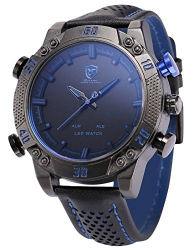 Shark-SH265-Reloj-Hombre-Cuarzo-de-Cuero-Negro-Esfera-Negra-Alarma