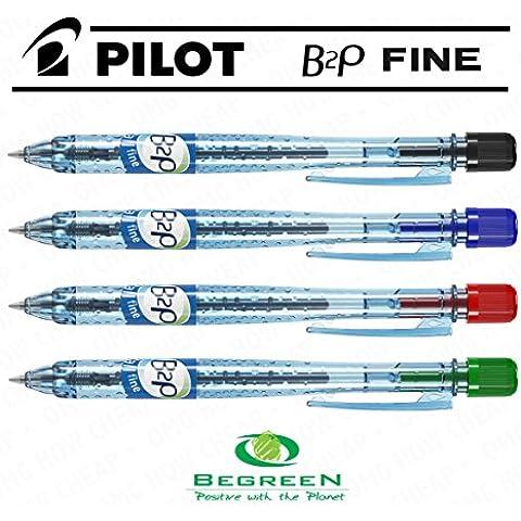Pilot B2P-Penna a sfera retrattile, confezione da 4, colore: nero, Blu, Rosso, Verde, [94] %plastica riciclata