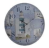 Relojes de pared de madera mc-194azul y blanco náutico Faro redondo de madera reloj de pared 23x 23x 1,5cm azul