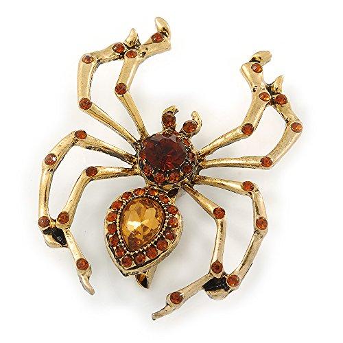 Vintage inspiriert Bernstein Kristall Spinne Brosche in Antik Gold Tone Metall–50mm L