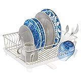 mDesign Abtropfgestell mit Abtropfschale – Abtropfablage für die Küchentheke oder Spüle – Geschirrabtropfer mit drehbarem Ausguss aus Metall und Kunststoff – mattsilberfarben