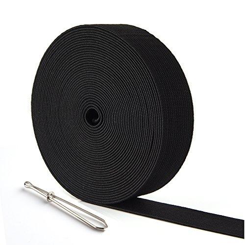 Kuuqa - bobina di corda elastica piatta, 6 m, per cucito, fai da te, cucito, fai da te, 25 mm di larghezza (nero)