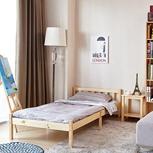 GreenForest Single Bed Solid Wooden Frame with Slat Pine Color