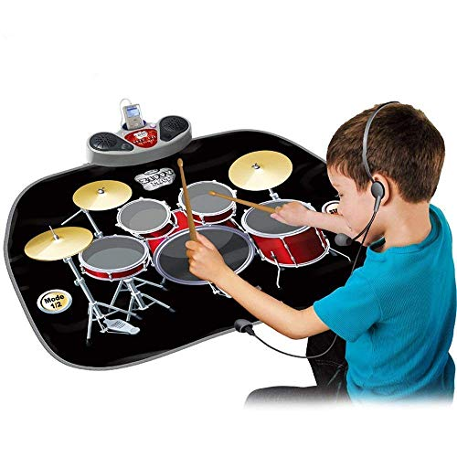 WISHTIME Electric Musical Playmat Toy Instrument Drum Kit Set Includes Headphones with Mic&Drum Sticks MP3/CD Amplifier for Kids Test