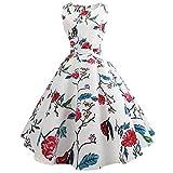 KPILP Frauen Abendkleider Floral Petticoat Elegante Sleeveless 50er Vintage Tee Hepburn Kleid Party Ballkleid Cocktailkleider(Weiß,EU-38/CN-M