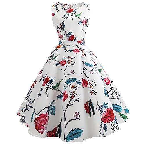 KPILP Frauen Abendkleider Floral Petticoat Elegante Sleeveless 50er Vintage Tee Hepburn Kleid Party Ballkleid ()