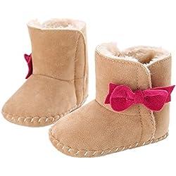 GenialES Stivali da neve con bowknot per bebé PRIMEROS PASOS morbida calda Prewalker 0a 12mesi 11cm,0-6meses 2-Beige