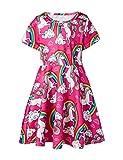 Funnycokid Baby Mädchen Kleidung Sommer Kurzarm Sternenklar Schick Tanzen Kleid