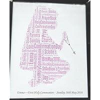 Die erste heilige Kommunion des neuen personalisierten Mädchen oder Bestätigungs-Wort-Kunst-Entwurf (A) Präsentiert in 8