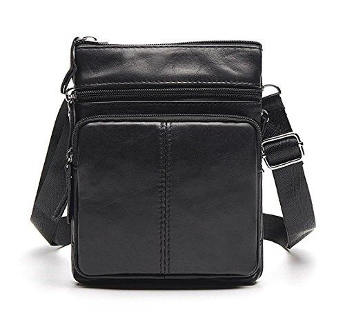 Tibes Moda Messenger Bag a tracolla in pelle borsa tracolla Zipper Uomo A Nero