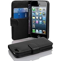 Cadorabo Coque pour Apple iPhone 5 / iPhone 5S / iPhone Se / 5G Noir DE Jais Housse de Protection Etui Portefeuille Case Cover pour iPhone 5 / 5S / Se / 5G - Fente pour Carte
