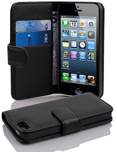Cadorabo Hülle für Apple iPhone 5/ iPhone 5S/ iPhone SE Hülle in Handyhülle mit Kartenfach aus Struktriertem Kunstleder Case Cover Schutzhülle Etui Tasche Book Klapp Style Oxid Schwarz