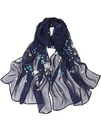 Lenfesh Mujeres Otoño Fular de seda Bufanda Floral Estampado de Otoño Invierno Playa Fiesta Moda