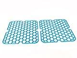 Spülbecken Einlage eckig weich 28cm 2 Stück -K&B Vertrieb- Spülbeckeneinlage Spüleinlage Spülbeckenmatte Spüle Einlage Gitter 059 (blau)