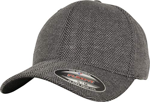 Flexfit Mütze Herringbone Melange Baseball Cap,Schwarz/grau,L/XL