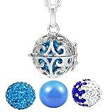 AKKi Damen Halskette Edelstahl 70 cm mit Ornament und 3 Engelskugel Anhänger und Klangkugel Ø 14 mm in Schmuckbeutel zur Farbauswahl ER001