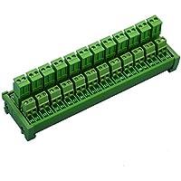 electronics-salon DIN Rail Mount steckbar 12x 2Position 15A/300V Schraubklemmen Block Verteilung Modul. (Seite Draht verbindet)