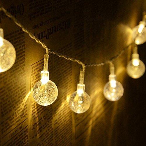 Toran Home Crystal Ball Light String, Battery Powered Fairy Light String, IP54-3500K -60000Lm, Dekorative Garten, Balkon, Familie, Party, Festival [Energieeffizienzklasse A + + +],2M20LEDs
