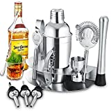 Gomyhom Cocktail Shaker Set di 12 Pezzi, Kit da Barman in Acciaio Inox, 550ml Shaker con Accessori, Set di strumenti Bar Jigger Bar Spoon