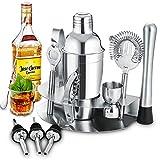 Gomyhom Cocktail Shaker Set di 12 Pezzi, Kit da Barman in Acciaio Inox, 750ml Shaker con Accessori, Set di strumenti Bar Jigger Bar Spoon