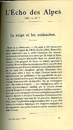 L'ECHO DES ALPES - PUBLICATION DES SECTIONS ROMANDES DU CLUB ALPIN SUISSE N°7 - LA NEIGE ET LES AVALANCHES PAR F. F. ROGET par ROGET F. F.