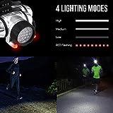 LED Stirnlampe, 18 Weiße LED und 2 Rote LED, 4 Helligkeiten wählbar - 2