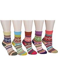CrazySell Femme super épais souple confortable Crew Socks laine épaisse d'hiver 5-pack Mix Colors