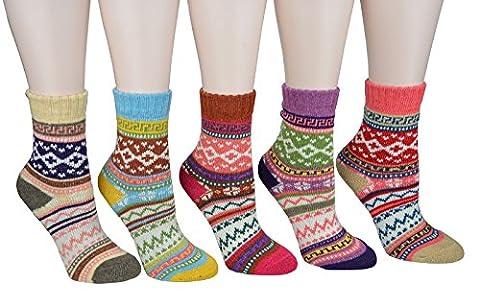 CrazySell CrazySell 5 Paar Winter Super Dick Damen Mädchen Thermo Socken Strümpfe (Sytle B)
