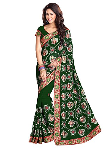SOURBH Women's Heavy Embroidered Wedding Bridal Saree with blouse piece (3790_Green)
