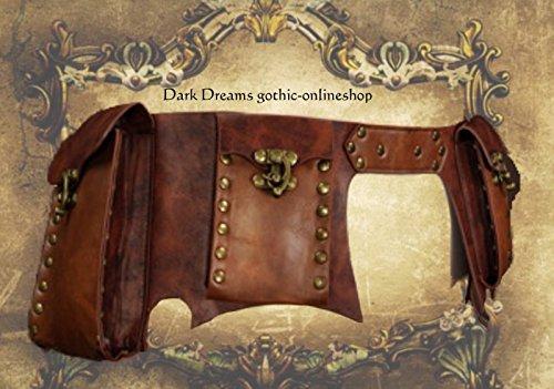 Dark Dreams Steampunk Larp Mittelalter Gürtel – Tasche Waistbag 'Steam' braun, Größe:L - 2