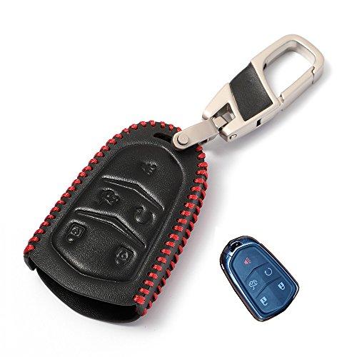 Echtes Leder smart case cover Für Cadillac schlüsselanhänger fit 2018 XTS ATS XT5 CT6 ESCALADE 5 Knopf zubehör halter tasche (Cadillac Cts-zubehör)