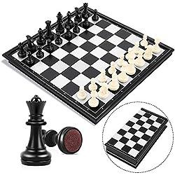Peradix Ajedrez magnético, Juego de ajedrez de Rompecabezas, Plegable y fácil de Llevar, Ideal para niños y Adultos, Juegos al Aire Libre o Regalos