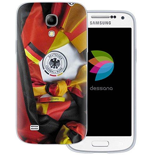 dessana Fußball WM Weltmeisterschaft transparente Silikon TPU Schutzhülle dünne Handy Tasche Soft Case für Samsung Galaxy S4 mini Fußball Fan Artikel