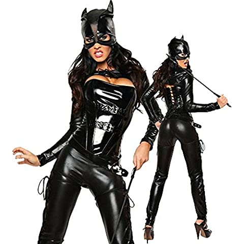 Sexy Damen-Kostüm BAD BLACK CAT Batgirl Batman Lack Katze Halloween, Größe:36/38