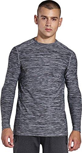 KomPrexx Herren Longsleeve T-shirt Running Pullover Langarmshirt Sport Sweatshirt Lauf Funktionsshirt Winter Trainingsshirt MC05T(Gray,2XL)