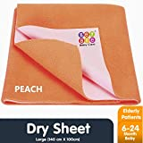 Bey Bee Waterproof Bed Protector Baby Care Sheet, Large, Peach (140 cm x 100 cm)
