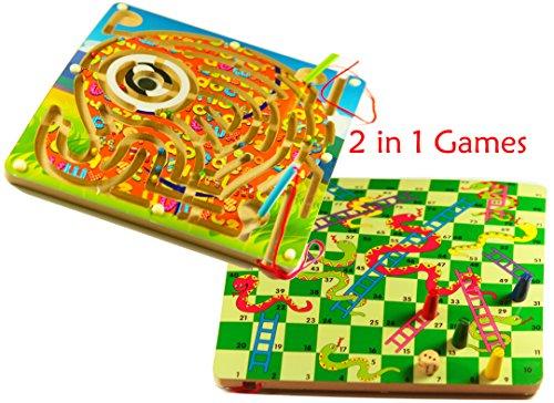 TOWO Tavolo da Gioco di Serpenti e Scale e Giocattoli di Legno a Labirinto di Elefanti magnetici - labirinti di Legno - 3 Anni